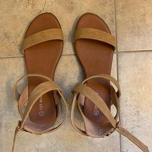 Tan Suede Short Thick Heel Sandal